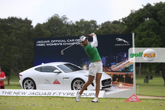 Azahara Munoz (ESP) on the 17th tee during Round 3 of the HSBC Women's Champions at the Sentosa Golf Club, The Serapong Course in Singapore on Saturday 7th March 2015.<br /> Picture:  Thos Caffrey / www.golffile.ie
