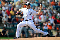 Detroit Tigers pitcher Kyle Lobstein #31 delivers a pitch during a Spring Training game against the Atlanta Braves at Joker Marchant Stadium on February 27, 2013 in Lakeland, Florida.  Atlanta defeated Detroit 5-3.  (Mike Janes/Four Seam Images)