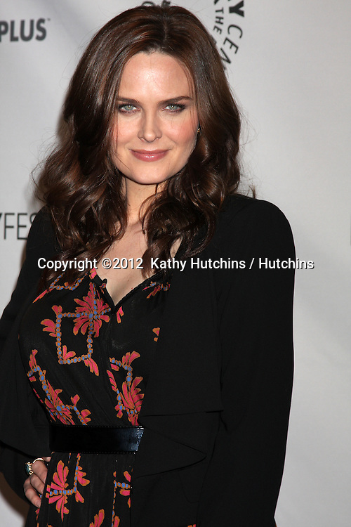 """LOS ANGELES - MAR 8:  Emily Deschanel arrives at the """"Bones"""" Event at PaleyFest 2012 at the Saban Theater on March 8, 2012 in Los Angeles, CA"""