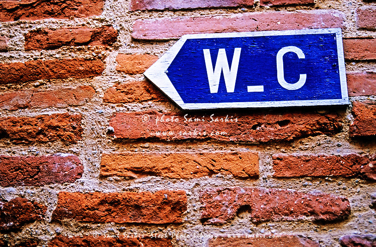 Water closet (toilet) sign on a brick red wall, Albi, France.