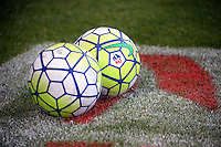 Kansas City, Kansas - Saturday April 16, 2016: Soccer balls on the pitch before the game between FC Kansas City and Western New York Flash at Children's Mercy Park. Western New York won 1-0.