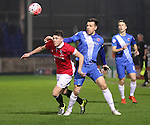 Jordan Hulme of Salford City tussles with Carl Magnay of Hartlepool Utd - Emirates FA Cup Second Round Replay - Hartlepool vs Salford City - Victoria Park - Hartlepool - England - 15th of December 2015 - Picture Jamie Tyerman/Sportimage