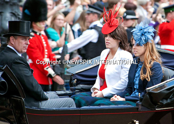 "TROOPING THE COLOUR_PRINCE ANDREW AND DAUGHTERS PRINCESSES BEATRICE & EUGENIE.Soldiers of the Household Division paraded today to mark the Queen's Official Birthday on Horse Guards Parade at the ceremony known as Trooping the Colour..The Colour trooped in the presence of Her Majesty The Queen, was the new Colour of the 1st Battalion Grenadier Guards, which was presented by Her Majesty on 12th May..The parade consisited of 1400 Soldiers in the traditional uniforms of the Household Cavalry, Royal Horse Artillery, and Foot Guards, over 200 horses and about 400 musicians from ten bands & corps of drums..The Duke of Edinburgh and the Royal Colonels (Prince Charles, The Princess Royal, and The Duke of Kent) were also at the parade..Photo Credit: ©Dias/Newspix International..**ALL FEES PAYABLE TO: ""NEWSPIX INTERNATIONAL""**..PHOTO CREDIT MANDATORY!!: NEWSPIX INTERNATIONAL..IMMEDIATE CONFIRMATION OF USAGE REQUIRED:.Newspix International, 31 Chinnery Hill, Bishop's Stortford, ENGLAND CM23 3PS.Tel:+441279 324672  ; Fax: +441279656877.Mobile:  0777568 1153.e-mail: info@newspixinternational.co.uk"
