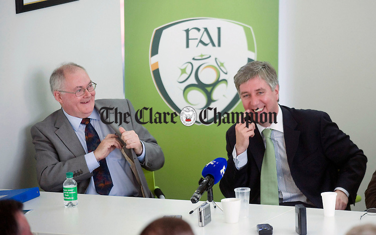 Jim Madden, chair of the Clare organising committee, and John Delaney, FAI chairman, share a joke at the FAI press conference to launch this summer's AGM which will take place in Ennis. Photograph by Declan Monaghan
