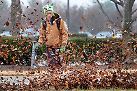 NWA Democrat-Gazette/DAVID GOTTSCHALK Amanda McCormick, with Colonial Hills Landscaping of Fayetteville, works Tuesday, January 9, 2018, with a work crew to clear Mall Avenue of leaves in Fayetteville. McCormick was wearing the hat and gloves her mother recommended she wear to be visible and warm.