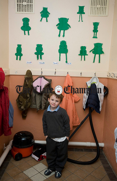 Cian Burke in the cloak room  at Doolin NS. Photograph by John Kelly.