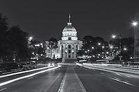 Traffic creates light trails at twilight on Dexter Avenue in front of the Alabama State Capitol in Montgomery, Alabama.