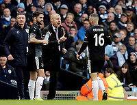 Burnley manager Sean Dyche issues instructions to Steven Defour during a break in play<br /> <br /> Photographer Rich Linley/CameraSport<br /> <br /> Emirates FA Cup Fourth Round - Manchester City v Burnley - Saturday 26th January 2019 - The Etihad - Manchester<br />  <br /> World Copyright © 2019 CameraSport. All rights reserved. 43 Linden Ave. Countesthorpe. Leicester. England. LE8 5PG - Tel: +44 (0) 116 277 4147 - admin@camerasport.com - www.camerasport.com
