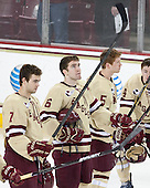 Isaac MacLeod (BC - 7), Patrick Wey (BC - 6), Michael Matheson (BC - 5) - The Boston College Eagles defeated the visiting University of Vermont Catamounts to sweep their quarterfinal matchup on Saturday, March 16, 2013, at Kelley Rink in Conte Forum in Chestnut Hill, Massachusetts.