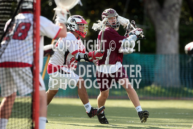 Los Angeles, CA 04/20/10 - Daniel Marenzi (Harvard Westlake # 15) and Kienan McCarty (Oaks Christian # 12) in action during the Oaks Christian-Harvard Westlake Boys Varsity Lacrosse game at Harvard-Westlake High School.  The Harvard Westlake Wolverines defeated the Oaks Christian Lions 13-9.