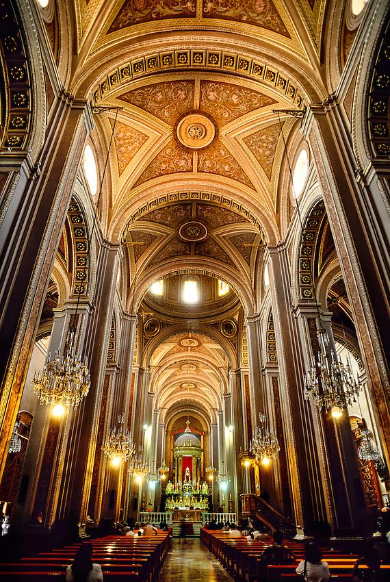 Neoclassical interior of the Cathedral, Morelia,  Michoacan, Mexico