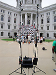 Taking a group photo of the Madison Scouts Drum and Bugle Corp. on the steps of the Wisconsin State Capitol.