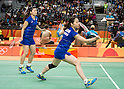 Ayaka Takahashi & Misaki Matsutomo (JPN), AUGUST 12, 2016 - Badminton : Ayaka Takahashi and Misaki Matsutomo of Japan in action during the Rio 2016 Olympic Gamges Badminton Women's Doubles Group A match at Riocentro Pavilion 4 in Rio de Janeiro, Brazil. (Photo by Enrico Calderoni/AFLO SPORT)
