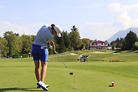 Carlota Ciganda (ESP) tees off the par3 5th tee during Thursday's Round 1 of The Evian Championship 2018, held at the Evian Resort Golf Club, Evian-les-Bains, France. 13th September 2018.<br /> Picture: Eoin Clarke | Golffile<br /> <br /> <br /> All photos usage must carry mandatory copyright credit (&copy; Golffile | Eoin Clarke)
