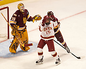 Hunter Miska (UMD - 35), Evan Ritt (DU - 15), md22[ - The University of Denver Pioneers defeated the University of Minnesota Duluth Bulldogs 3-2 to win the national championship on Saturday, April 8, 2017, at the United Center in Chicago, Illinois.