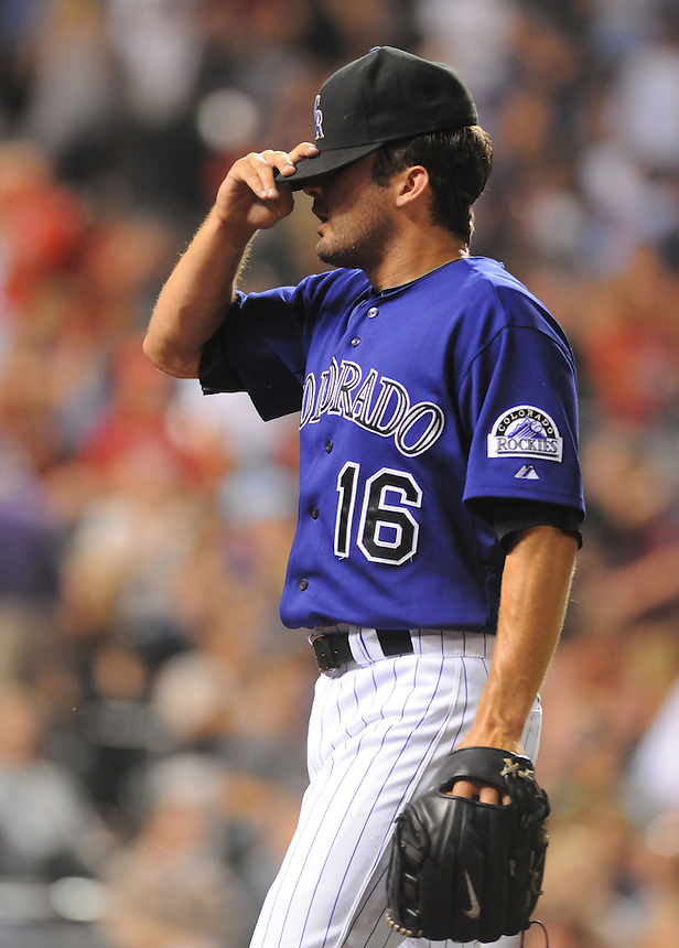 01 AUGUST 2011: Colorado Rockies relief pitcher Huston Street (16) is discouraged after blowing a two run lead against the Phillies despite being one strike away from the win and save during a regular season game between the Philadelphia Phillies and the Colorado Rockies at Coors Field in Denver, Colorado. The Phillies beat the Rockies 4-3 in 10 innings. *****For Editorial Use Only*****