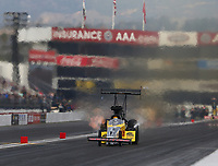 Feb 10, 2018; Pomona, CA, USA; NHRA top fuel driver Richie Crampton during qualifying for the Winternationals at Auto Club Raceway at Pomona. Mandatory Credit: Mark J. Rebilas-USA TODAY Sports