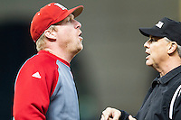 Nebraska Cornhuskers head coach Darin Erstad (17) argues with the umpire during the Houston College Classic against the LSU Tigers on March 8, 2015 at Minute Maid Park in Houston, Texas. LSU defeated Nebraska 4-2. (Andrew Woolley/Four Seam Images)