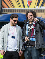 Members of the Filming Crew during The Impractical Jokers (Hit US TV Comedy) filming at Wycombe Wanderers FC at Adams Park, High Wycombe, England on 5 April 2016. Photo by Andy Rowland.