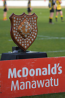 The Hankins Shield trophy on display before the 2019 Manawatu premier club rugby Hankins Shield final match between Varsity and Feilding Yellows at CET Arena in Palmerston North, New Zealand on Saturday, 13 July 2019. Photo: Dave Lintott / lintottphoto.co.nz