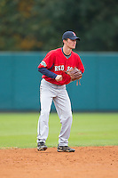 Dillon Cooper (12) of Leesville Road High School in Raleigh, North Carolina playing for the Boston Red Sox scout team at the South Atlantic Border Battle at Doak Field on November 1, 2014.  (Brian Westerholt/Four Seam Images)