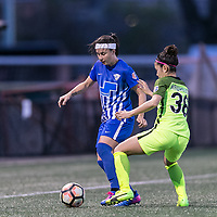 Allston, Massachusetts - April 29, 2017:  In a National Women's Soccer League (NWSL) match, Boston Breakers (blue) defeated Seattle Reign FC (yellow), 3-0, at Jordan Field.
