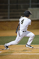 Stuart Fairchild (4) of the Wake Forest Demon Deacons connects for a double against the Georgetown Hoyas at David F. Couch Ballpark on February 19, 2016 in Winston-Salem, North Carolina.  The Demon Deacons defeated the Hoyas 3-1.  (Brian Westerholt/Four Seam Images)