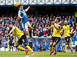 Andy Halliday wins the ball in the air