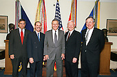 "United States Secretary of Defense Donald H. Rumsfeld (center) poses with some members his newly appointed staff in the Pentagon on May 11, 2001.  From left to right is Assistant Secretary of Defense for Force Management Policy Charles S. Abell, Under Secretary of Defense (Comptroller) Dov S. Zakheim, Rumsfeld, Under Secretary of Defense for Acquisition, Technology and Logistics Edward C. ""Pete"" Aldridge Jr., and Assistant Secretary of Defense for Legislative Affairs Powell A. Moore.  <br /> Credit: DoD via CNP"