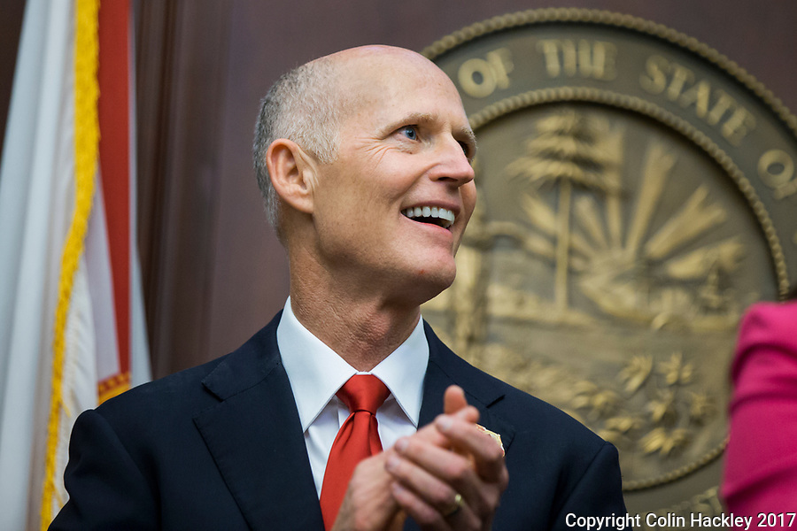 TALLAHASSEE, FLA. 3/7/17-Gov. Rick Scott applauds during opening day of the legislative session at the Capitol in Tallahassee.<br /> <br /> COLIN HACKLEY PHOTO