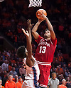 Jan 24, 2018; Champaign, IL, USA; Indiana Hoosiers forward Juwan Morgan (13) shoots defended by Illinois Fighting Illini forward Leron Black (12) during the second half at State Farm Center. Mandatory Credit: Mike Granse-USA TODAY Sports