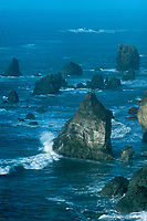 769550027 fog and mist shroud massive sea stacks just off the beach at lone ranch state park north of brookings along the pacific coast of oregon