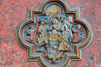 Baptism of St Firmin, low relief plaque on the South side of the Gothic choir screen, 1490-1530, commissioned by canon Adrien de Henencourt, depicting the life of St Firmin, in the South ambulatory of the Basilique Cathedrale Notre-Dame d'Amiens or Cathedral Basilica of Our Lady of Amiens, built 1220-70 in Gothic style, Amiens, Picardy, France. St Firmin, 272-303 AD, was the first bishop of Amiens. Amiens Cathedral was listed as a UNESCO World Heritage Site in 1981. Picture by Manuel Cohen