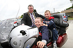 """Mayor Paul Bell with Evan and Leonard before the """"Run of the Country"""" Motorcycle fundraiser at St.Itas school...(Photo credit should read Jenny Matthews www.newsfile.ie)....This Picture has been sent you under the conditions enclosed by:.Newsfile Ltd..The Studio,.Millmount Abbey,.Drogheda,.Co Meath..Ireland..Tel: +353(0)41-9871240.Fax: +353(0)41-9871260.GSM: +353(0)86-2500958.email: pictures@newsfile.ie.www.newsfile.ie."""