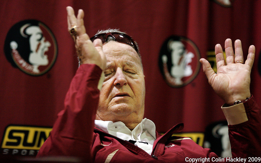 TALLAHASSEE, FL 9/7/09-FSU-MIAMIFB09 CH58-Florida State Head Coach Bobby Bowden talks about the loss to Miami, Monday at Doak Campbell Stadium in Tallahassee. The Seminoles lost to the Hurricanes 38-34...COLIN HACKLEY PHOTO