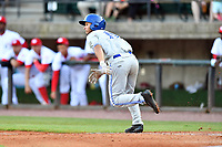 Bluefield Blue Jays center fielder Cal Stevenson (19) runs to first base during a game against the Greeneville Reds at Pioneer Park on June 30, 2018 in Greeneville, Tennessee. The Blue Jays defeated the Red 7-3. (Tony Farlow/Four Seam Images)