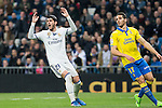 Pedro Bigas of UD Las Palmas and Alvaro Morata of Real Madrid during the match of Spanish La Liga between Real Madrid and UD Las Palmas at  Santiago Bernabeu Stadium in Madrid, Spain. March 01, 2017. (ALTERPHOTOS / Rodrigo Jimenez)