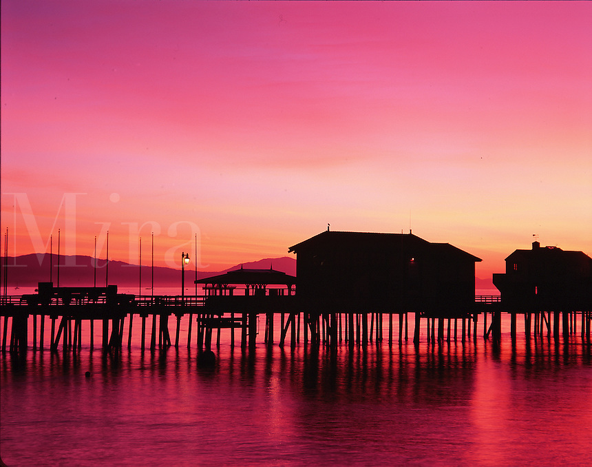 The silhouette of Stearns Wharf at sunrise. Santa Barbara.