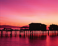 The silhouette of Stearns Wharf at sunrise. Santa Barbara.