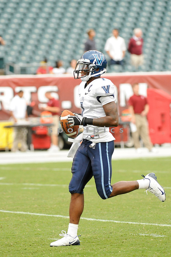 JAMES PITTS, of the Villanova Wildcats  in action during the Wildcats game against the Temple Owls on September 1, 2011 at Lincoln Financial Field in Philadelphia, PA. Temple beat Villanova 42-7.