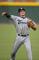 Third baseman Kyle Datres (3) of the Asheville Tourists warms up before a game against the Greenville Drive on Friday, August 23, 2019, at Fluor Field at the West End in Greenville, South Carolina. Greenville won, 11-1. (Tom Priddy/Four Seam Images)