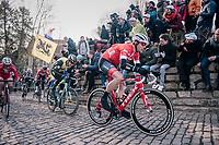 Jasper Stuyven (BEL/Trek-Segafredo) on the infamous Kapelmuur<br /> <br /> Omloop Het Nieuwsblad 2018<br /> Gent › Meerbeke: 196km (BELGIUM)