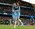 Kevin De Bruyne of Manchester City celebrates scoring the second goal with David Silva of Manchester City during the English Premier League match at the Etihad Stadium, Manchester. Picture date: May 16th 2017. Pic credit should read: Simon Bellis/Sportimage