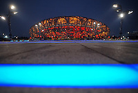 Aug. 6, 2008; Beijing, CHINA; Exterior view of the National Stadium. The Olympics begin at 8pm on August 8, 2008. Mandatory Credit: Mark J. Rebilas-