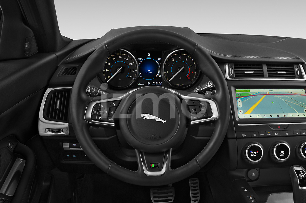 Car pictures of steering wheel view of a 2019 Jaguar E-PACE R-Dynamic S 5 Door SUV