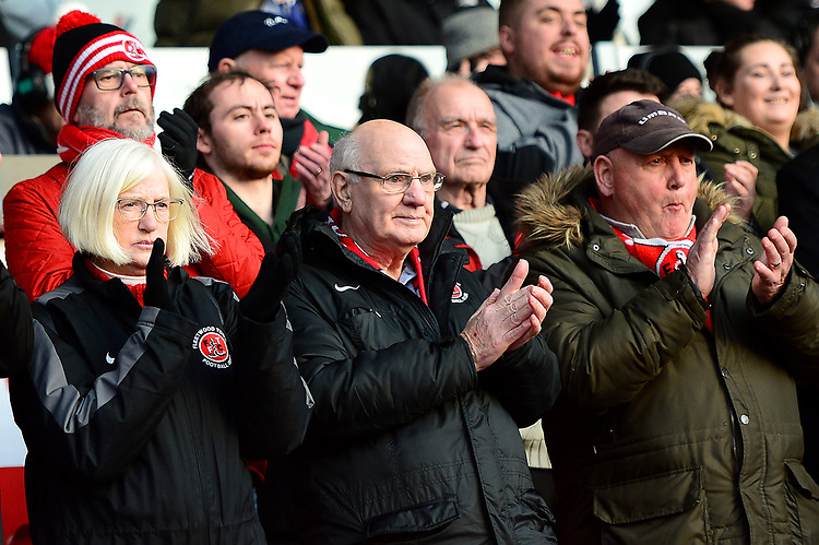 Fleetwood Town fans applaud their side<br /> <br /> Photographer Richard Martin-Roberts/CameraSport<br /> <br /> The EFL Sky Bet League One - Fleetwood Town v Portsmouth - Saturday 29th December 2018 - Highbury Stadium - Fleetwood<br /> <br /> World Copyright © 2018 CameraSport. All rights reserved. 43 Linden Ave. Countesthorpe. Leicester. England. LE8 5PG - Tel: +44 (0) 116 277 4147 - admin@camerasport.com - www.camerasport.com