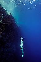 Steinar Schjager (Norway) freediving in a spot called The Bells near Blue Hole, Dahab,Sinai in Egypt. © Fredrik Naumann/Felix Features