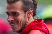 Gareth Bale smiles before watching Wales national team training ahead of the World Cup Qualification match against Republic of Ireland at Cardiff City Stadium, Cardiff, Wales on 8 October 2017. Photo by Mark  Hawkins.