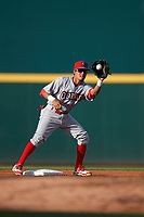 Clearwater Threshers second baseman Jose Antequera (18) receives a throw from the catcher during a game against the Bradenton Marauders on July 24, 2017 at LECOM Park in Bradenton, Florida.  Bradenton defeated Clearwater 6-3  (Mike Janes/Four Seam Images)