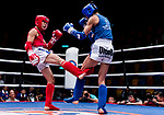 Chao Chi Meng (Red) of Macau fights against Lam Lit Tung (Blue) of Hong Kong in the male muay 57KG division weight bout during the East Asian Muaythai Championships 2017 at the Queen Elizabeth Stadium on 12 August 2017, in Hong Kong, China. Photo by Yu Chun Christopher Wong / Power Sport Images